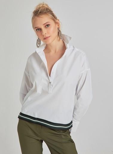 People By Fabrika Lastik Detaylı Poplin Bluz Beyaz